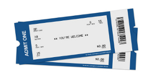 Sample Tickets, actual product will vary.